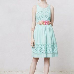Anthropologie Meadow Rue Mint Embroidered Dress